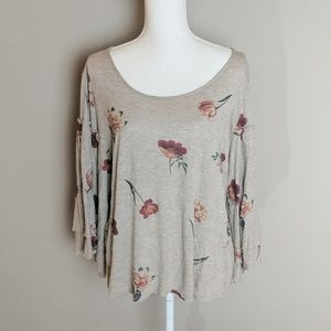 Lucky Brand Tan Gold Speckled Floral Top sz Large